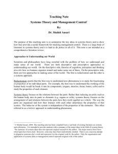 Teaching Note Systems Theory and Management