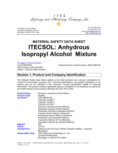 msds: itecsol™ - anhydrous isopropyl alcohol mixture
