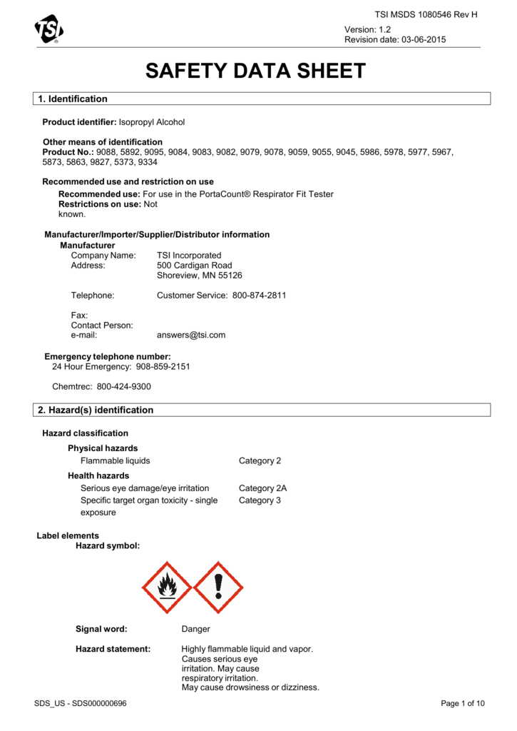 MSDS for Isopropyl Alcohol