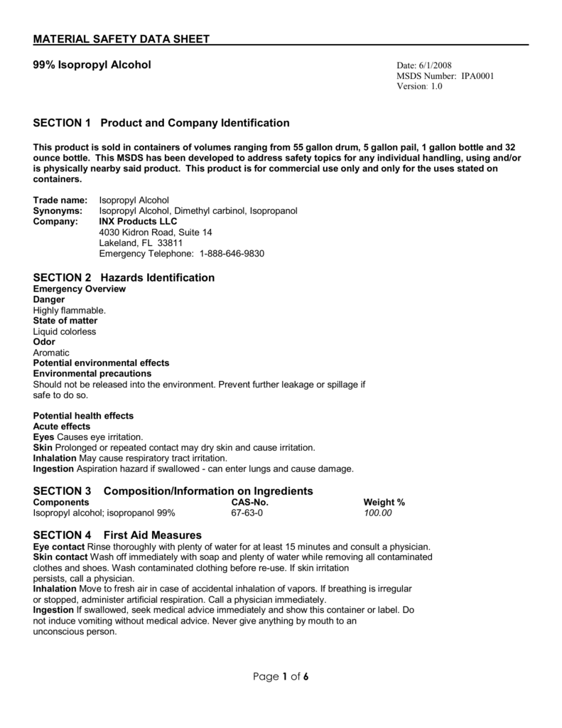 MATERIAL SAFETY DATA SHEET 99 Isopropyl Alcohol SECTION – Msds Worksheet