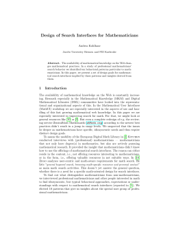 Design of Search Interfaces for Mathematicians - CEUR