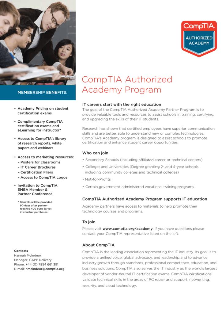 Comptia Authorized Academy Program