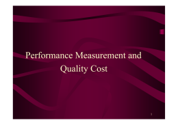 Performance Measurement and Quality Cost