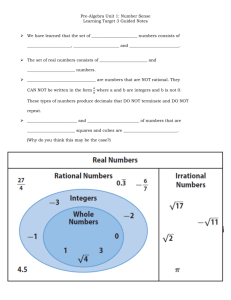 Pre-Algebra Unit 1: Number Sense Learning Target 3 Guided Notes