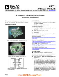 ADSP-BF533 EZ-KIT Lite® and ADF70xx Interface Application Note