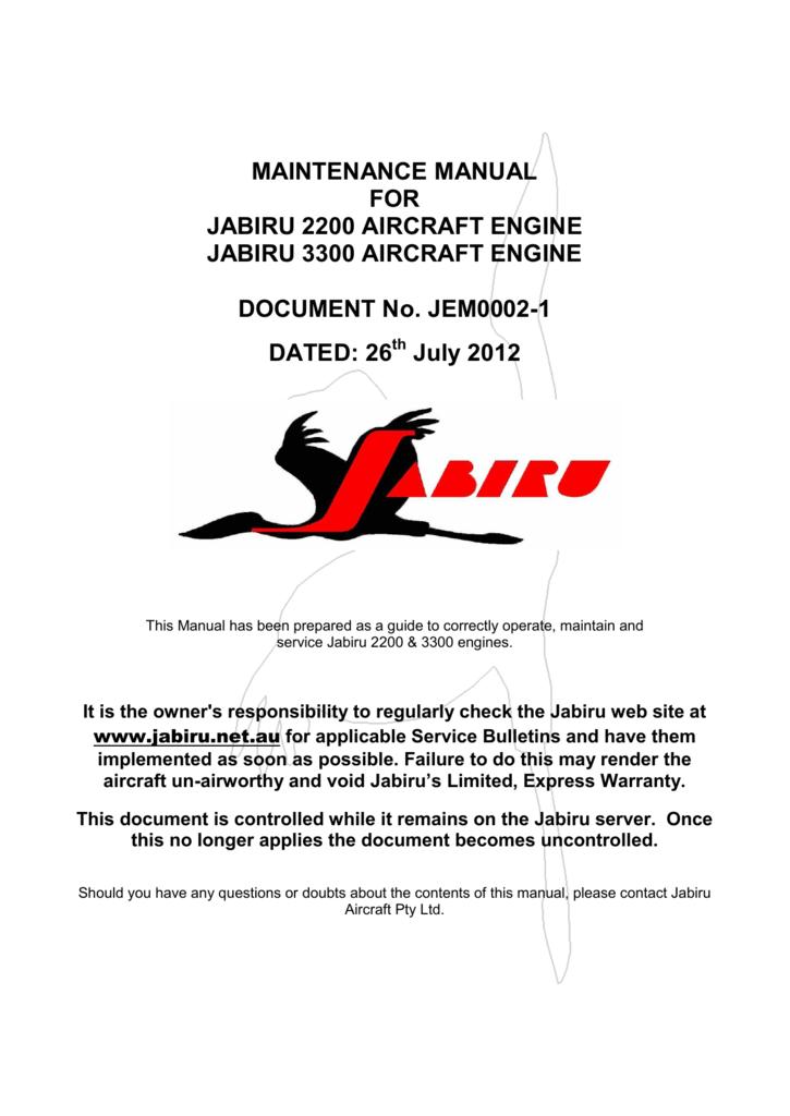 Engine Maintenance Manual - Jabiru Aircraft & Engines Australia