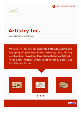 Artistry Inc., Mumbai - Manufacturer & Supplier of Jewellery Boxes