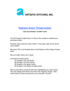 ARTISTIC STITCHES, INC. Robison Anton Thread Colors