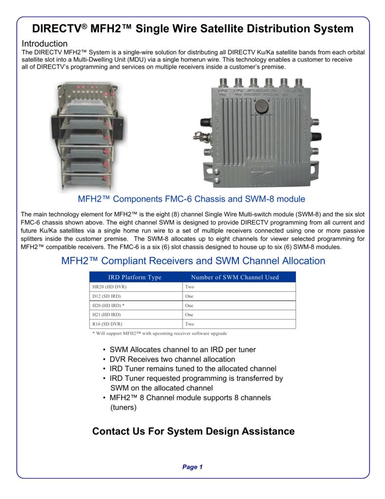 directv mfh2 single wire satellite distribution rh studylib net