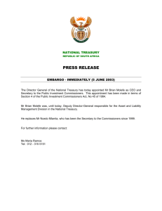 Appointment of Mr Brian Molefe as CEO and Secretary to the Public