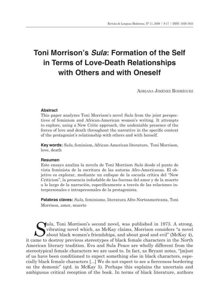 sula toni morrison analysis