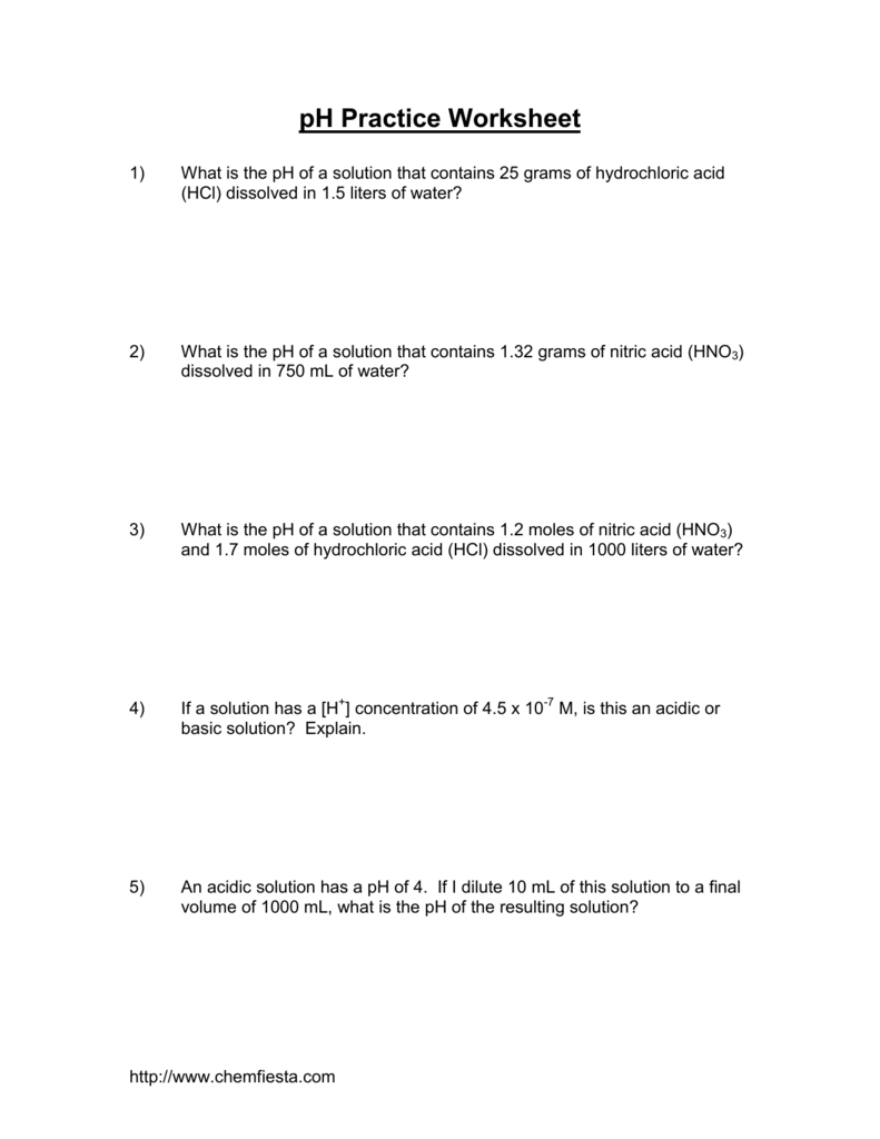 Ph Practice Worksheet