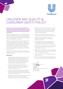 UNILEVER ANZ QUALITY & CONSUMER SAFETY POLICY