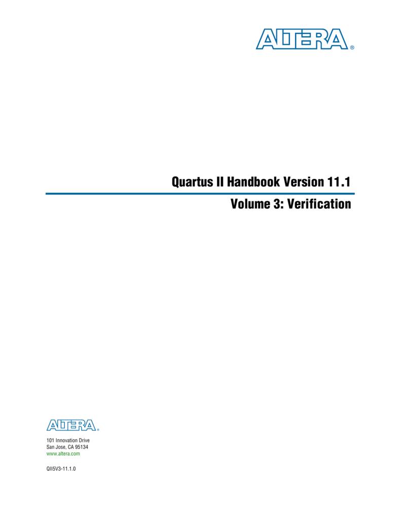 Quartus II Handbook Version 11 1 Volume 3: Verification