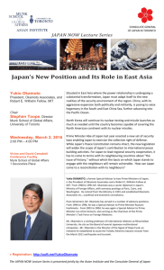Japan's New Position and Its Role in East Asia
