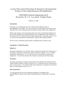 Lecture Notes and Lab Procedure for Reactions Lab Experiments