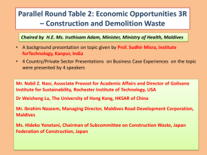 Parallel Round Table 2: Economic Opportunities 3R – Construction