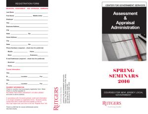 Assessment & Appraisal Administration SPRING SEMINARS 2016