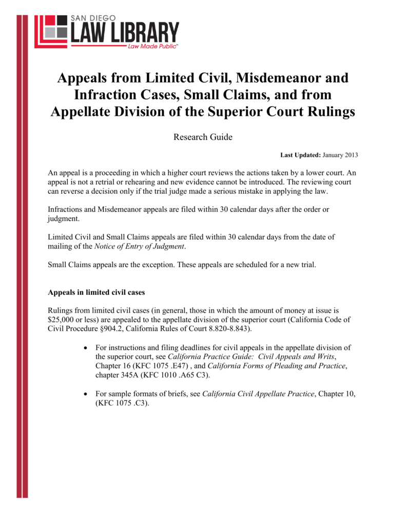 appeals from limited civil misdemeanor and infraction cases rh studylib net Printable Police Tickets DUI Ticket