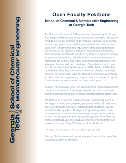 Open Faculty Positions - School of Chemical & Biomolecular