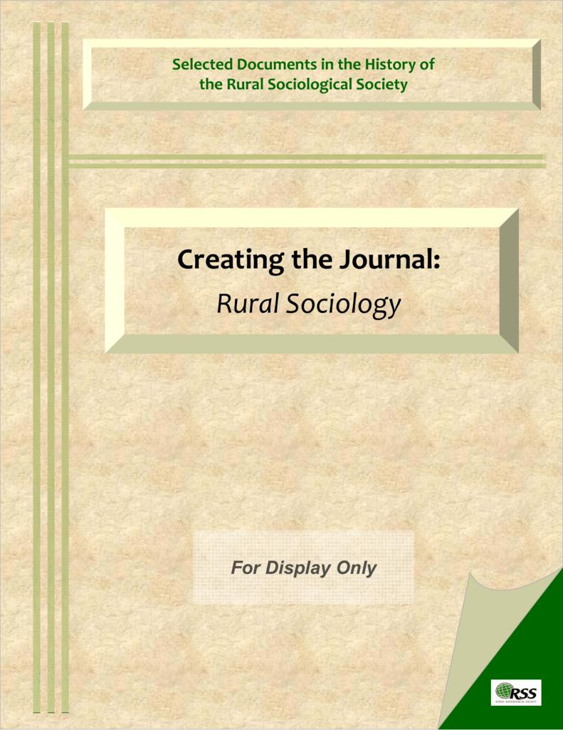 RURAL SOCIOLOGY JOURNAL DOWNLOAD