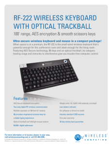 RF-222 WIRELESS KEYBOARD WITH OPTICAL TRACKBALL