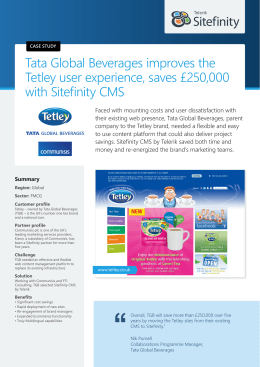 Tata Global Beverages improves the Tetley user experience, saves