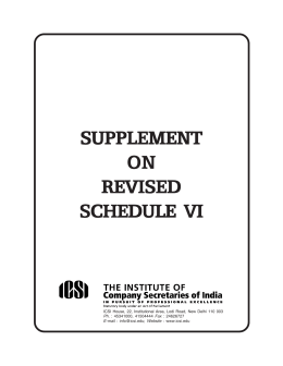 SUPPLEMENT ON REVISED SCHEDULE VI