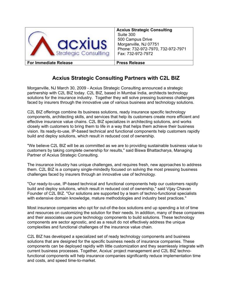 Acxius Strategic Consulting Partners With C2l Biz