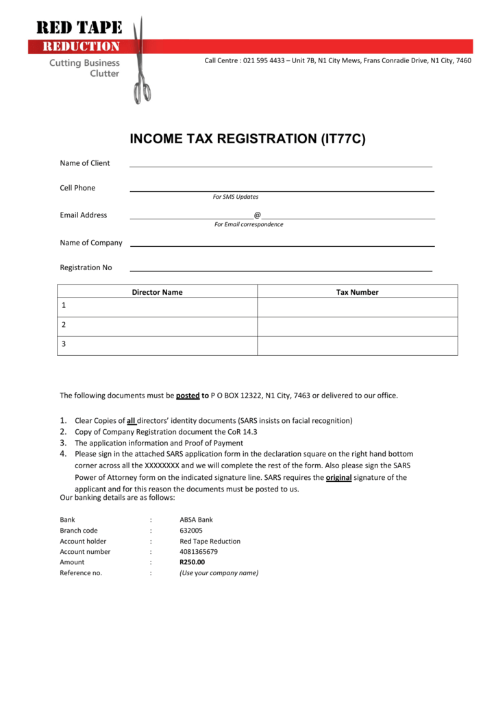 income tax registration (it77c)