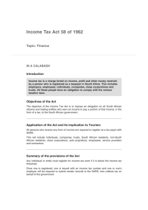 Income Tax Act 58 of 1962 - National Department of Tourism
