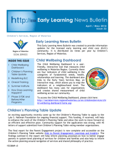 Early Learning News Bulletin - Region of Waterloo Social Services