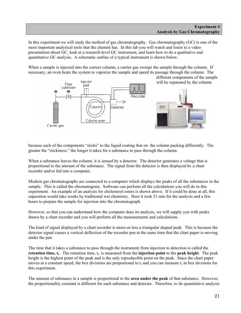 Experiment 4 Analysis by Gas Chromatography In this experiment