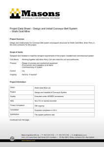 Project Data Sheet – Design and Install Conveyor Belt System