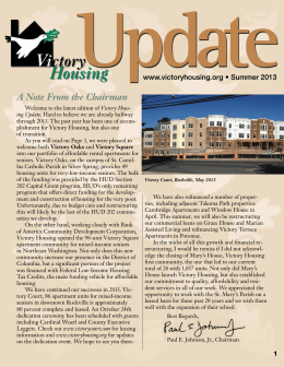 Victory Housing Update, Summer 2013
