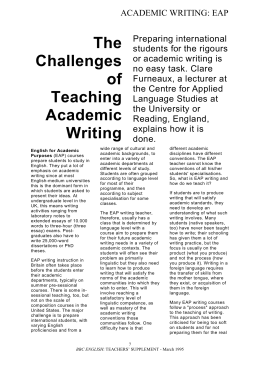 The Challenges of Teaching Academic Writing