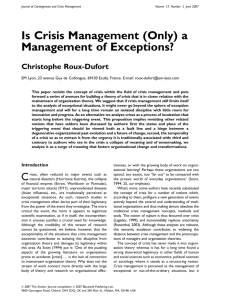Is Crisis Management (Only) a Management of Exceptions?