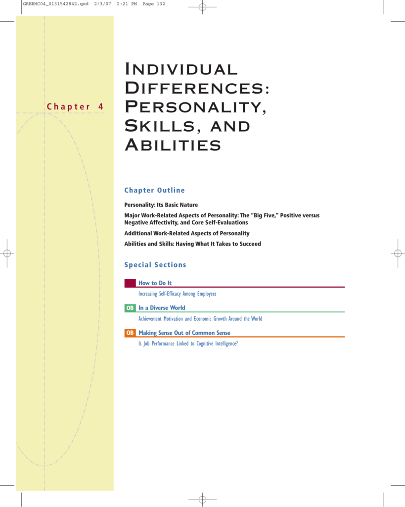 Individual Differences Personality Skills And Abilities