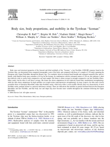 Body size, body proportions, and mobility in the Tyrolean ''Iceman''