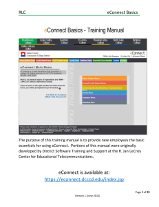 eConnect Basics - Training Manual