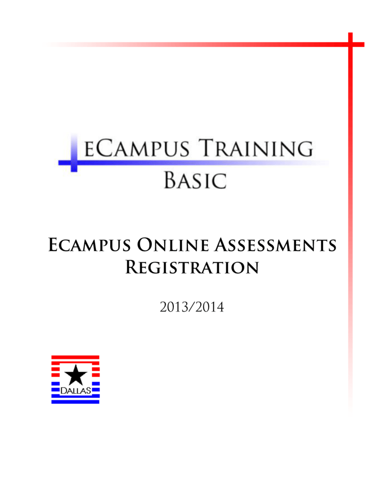 Ecampus Online Assessment Registration Manual Pdf 1 1 Mb
