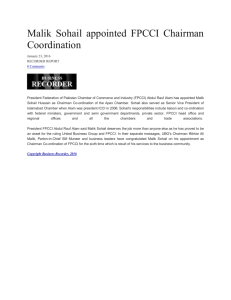 Malik Sohail appointed FPCCI Chairman Coordination