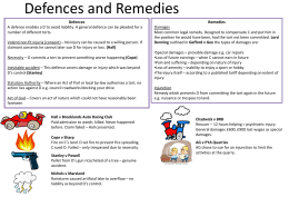 Defences and Remedies