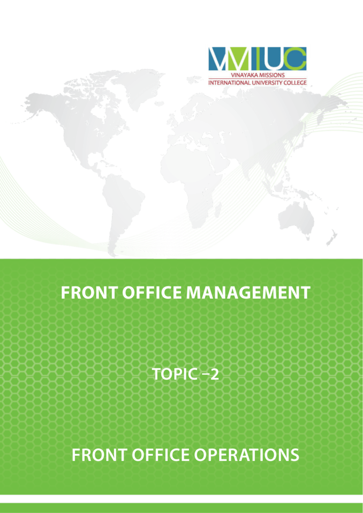 Topic 2 Front Office Operations