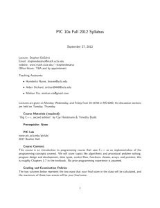 PIC 10a Fall 2012 Syllabus
