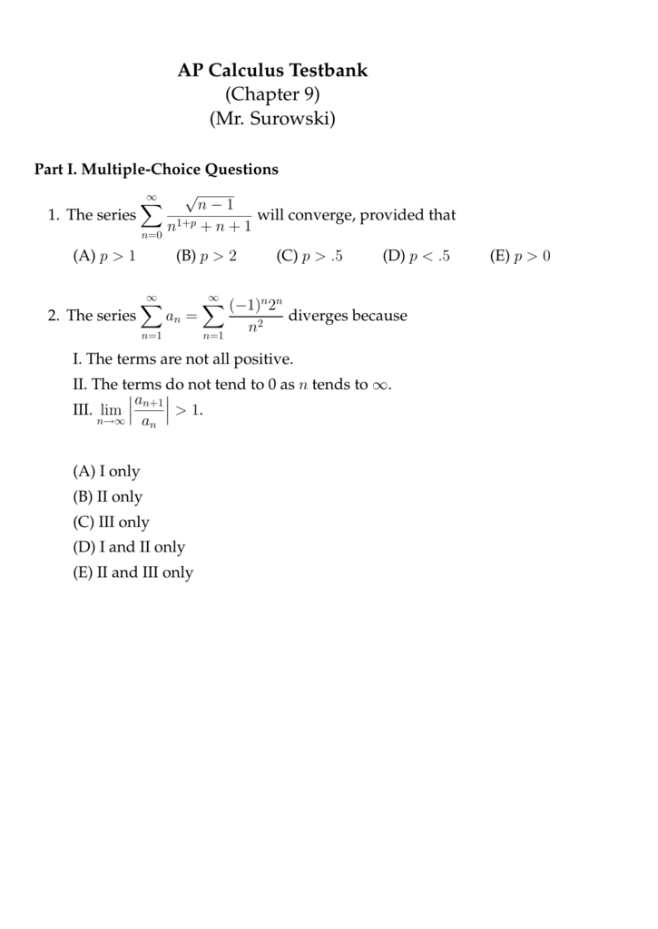 AP Calculus Testbank (Chapter 9) (Mr  Surowski)