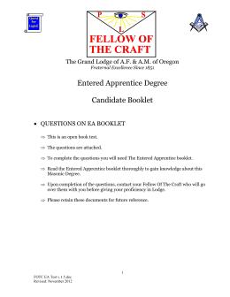 oregon mentor manual masonic grand lodge of oregon rh studylib net Entered Apprentice Examination Entered Apprentice Mason