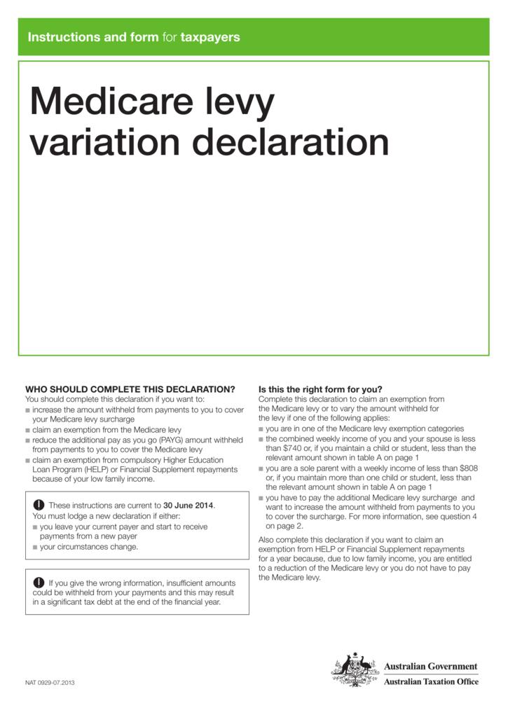 Financial Declaration Form | Medicare Levy Variation Declaration