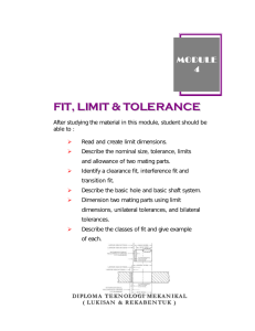 FIT, LIMIT & TOLERANCE