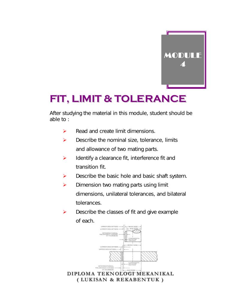 FIT, LIMIT & TOLERANCE